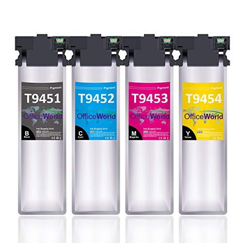 OfficeWorld T9451-T9454 Tinte Ersatz für Epson T9451 T9452 T9453 T9454 Patronen Kompatibel mit Epson WorkForce Pro WF-C5710DWF WF-C5790DWF WF-C5210DW WF-C5290DW WF-C5710 WF-C5790 WF-C5210 WF-C5290