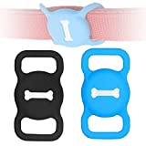 Protective Case for Air Tag Dog Collar Holder,2-Pack Silicone Air Tag Holder for Pets Portable Air Tag Case for Dog Collar Anti-Lost Air Tag Holder for Pets(Black & Blue)