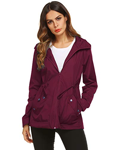 ZHENWEI Sport Rain Jacket,Women Ultralight Breathable Quick-Dry Rain Coat(Wine Red,L)