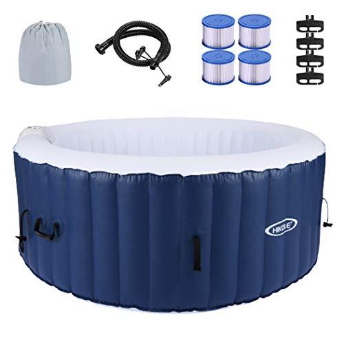 CROFULL Piscina de hidromasaje hinchable para 4 personas, 180 x 180 cm, para interior y exterior, 120 chorros de masaje, temporizador, función de inflado mediante botón, para spa, masaje de 800 litros