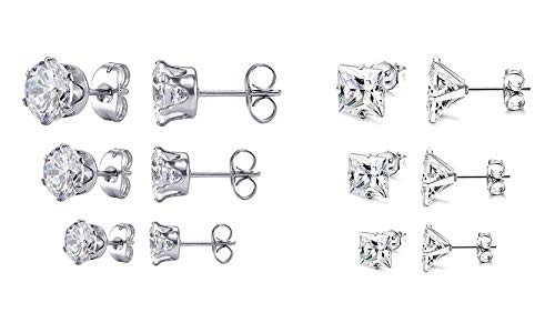 JDGEMSTONE Gift Square Round Cubic Zirconia Stud Earring for Women Jewellery Earrings Set Birthday Anniversary for Men Women Friend 6 Pairs Earrings Tone Earrings Stainless Steel Earrings