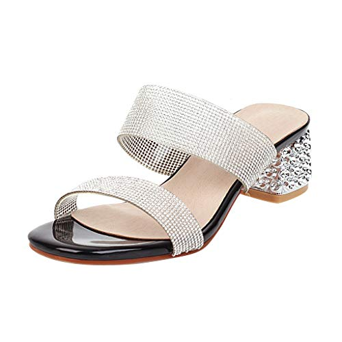 Great Deal! KANGMOON Women's Crystal Heels Mules Open Toe Chunky Mid Heel Strappy Slide Sandals Cont...