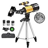 Telescopio Astronómico 70/300mm HD, Telescopio Celestron Niños Principiantes Adultos, Fácil de Montar y Usar con Adaptador para Móvil/3 Oculares/Trípode Ajustable/Mochila
