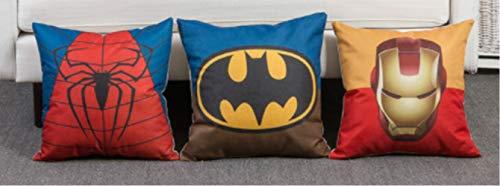 Set de 3 fundas de cojín de Ironman, Batman y Spiderman