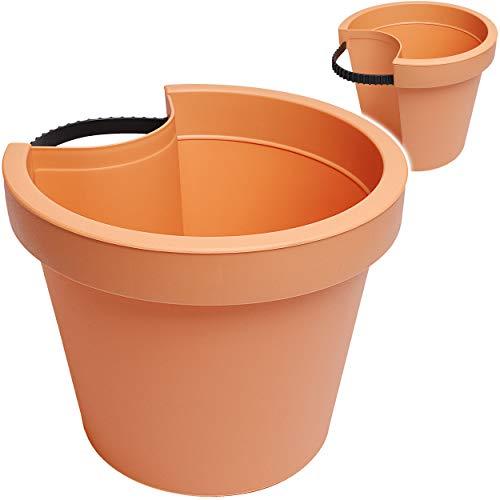 alles-meine.de GmbH Rohr & Stangen - Blumenkasten - terrakotta - braun / Caramel - RUND - 24 cm - Regenrohr / Fallrohr - Pflanzgefäß - Geländer / Zaun - Blumentopf / Pflanzkübel ..