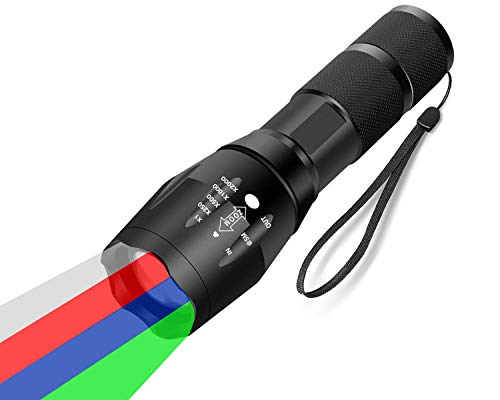 WAYLLSHINE Multicolor Red Green Blue White Flashlight, Single Mode White Red Green Blue Light Flashlight, White Red Green Blue LED Red Green Blue White Red Light for Outdoor Activities
