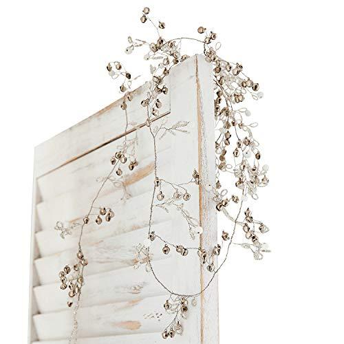 Loberon Girlande Meulers, Weihnachtsdeko, Stahldraht, Glas, Glocke: Eisen, B ca. 183 cm, antiksilber