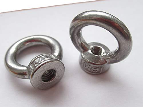6x M6 Ringmutter/Ösenmutter – V2A Rostfreier Stahl – 15mm Öffnung, 8mm M6 Gewinde, Gesamthöhe 29,5mm, Breite 22mm – Kranöse/Ringöse – für Industrie Öse Zurröse