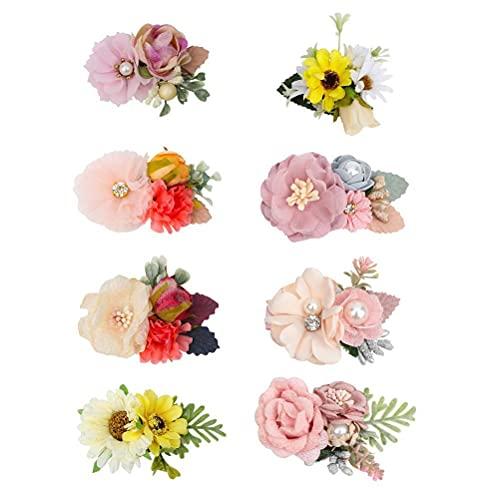 Auplew 8 unidades de diademas de flores artificiales para recién nacidos, para el pelo, regalo para el pelo