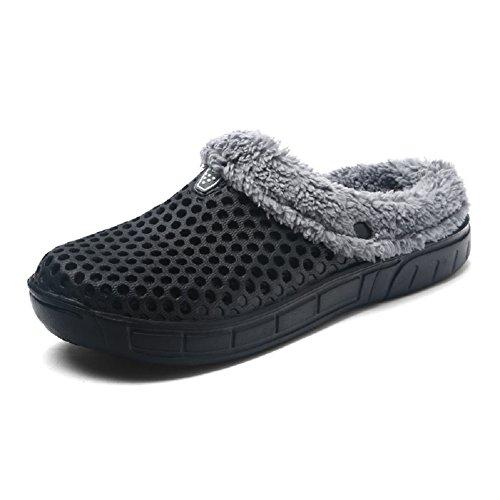 QISHENG Men's Women Mules Clogs Slip On Garden Shoes Fur Lined Slides Flip Flops Warm Winter Slipper Black