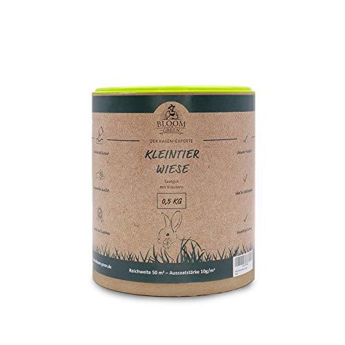 Bloom & Green Kleintierwiese Samen, 0,5kg für 50m² I Grassamen Weidegras für Kleintiere, ganzjährig I Ideal für eine Hasen- und Kaninchen-Wiese I Blausäurearm & gut verdaulich