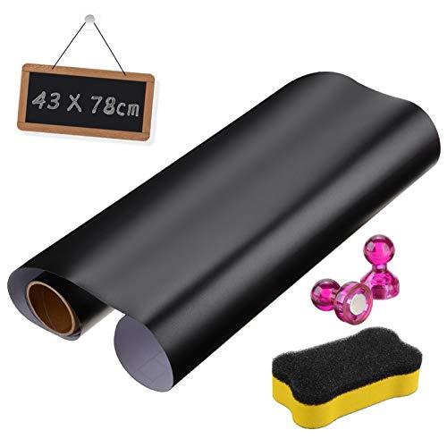 Tafelfolie Magnetische Selbstklebend 78cm x 43cm,UIEEGPG Decal Folie Chalkboard für Zuhause und im Büro zum Schreiben, Zeichnen & Basteln als Klebefolie, Möbel- und Wandfolie, mit Chalkboard Bürste