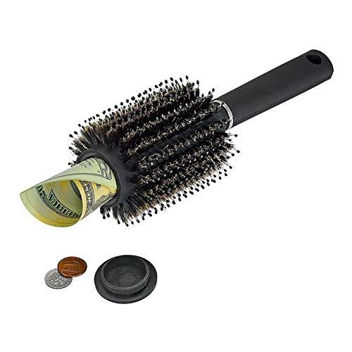 Brosse à cheveux Peau Détournement Coffre-fort Coffre à bijoux Rangement de sécurité Peigne discret Secret Couvercle amovible Multi-fonctionnel Peigne à tambour avec boîte de rangement pour le voyage