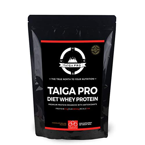 Taiga Pro Diet Whey Protein (Chocolate Deluxe, Medium, 907 grams) Includes: CLA & Acetyl-LCarnitine
