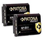 Batería PATONA Protect V1 (2X) NP-BX1 - Compatible con Sony Vlog ZV-1 DSC HX90 HX95 HX99 RX100 WX350 HX400V HDR AS100V FDR X1000 X3000