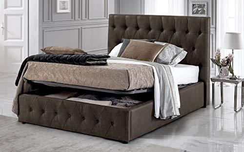 Dafne Italian Design Cama de una plaza y media con contenedor, color marrón oscuro (140 x 212 x 116 cm)