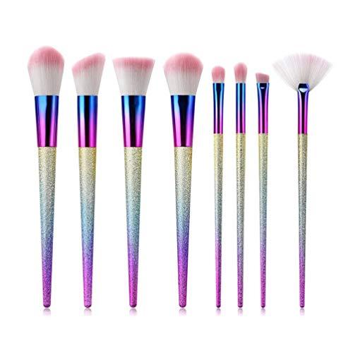 8PCS / SET Cone Shape Plastic Handle Nylon Hair Makeup Brushes Set For Blush (Light Pink)