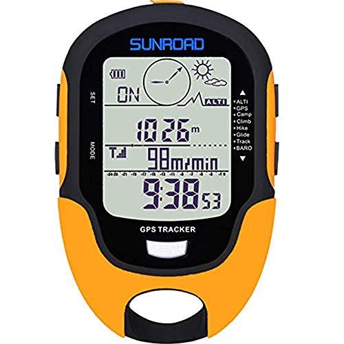SUNROAD GPS デジタル 防水 アウトドア 高度 事前警告 コンパス ストップウォッチ スポーツ 高度計 気圧 天気 フォーキャスト 歩数計 ハイキング イエロー