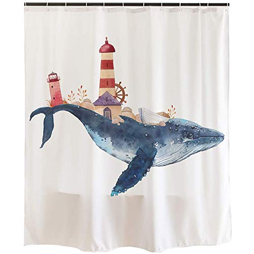 Whale and Lighthouse Curtain