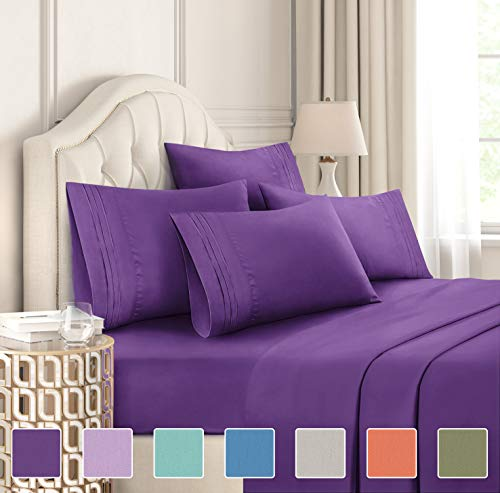 King Size Sheet Set - 6 Piece Set - Hotel Luxury Bed Sheets - Extra Soft - Deep Pockets - Easy Fit Breathable & Cooling - Wrinkle Free - Comfy - Purple Blum Bed Sheets - Kings Sheets - 6 PC