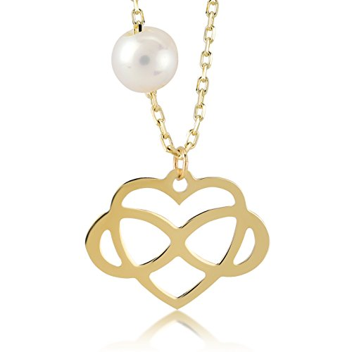 Damen Halskette 14 Karat - 585 Echt Gelbgold, Goldkette Unendlichkeit zeichen mit Mallorcaperle, einem Herz verbunden als Anhänger und eine schöne Perle an der Kette | Kettenlänge 45 cm