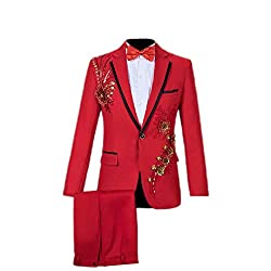 Red, Slim Fit Tuxedo Sequin Jacket and Trousers