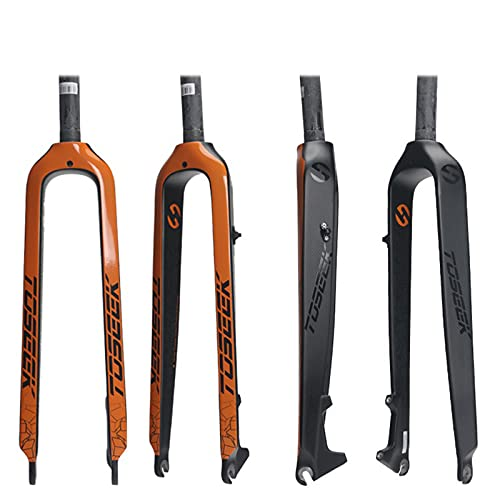 T800 Horquilla Rígida de Bicicleta MTB de Fibra de Carbono Completa 1-1/8' 26/27.5/29' Freno de Disco Ultraligera Horquilla Delantera de Bicicleta Piezas de Bicicleta,Orange,27.5ER