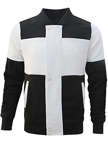 Hombres Sudadera Patchwork Manga Larga Chaquetas Polo Cuello Redondo Jersey Slim Fit Top Blusa acanalada Camiseta