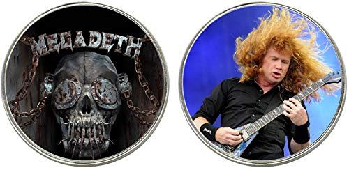 Megadeth Dave Mustaine 2 Imanes Metalicos Circulares 5,4 cm