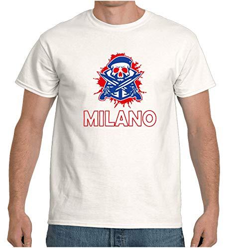 Maglietta Bianca Teschio Hockey Citta Milano rossoblu Taglia m (Taglia M: per Altre Taglie dalla S alla XXL Inviare Messaggio con Il Numero d'ordine) Replica -