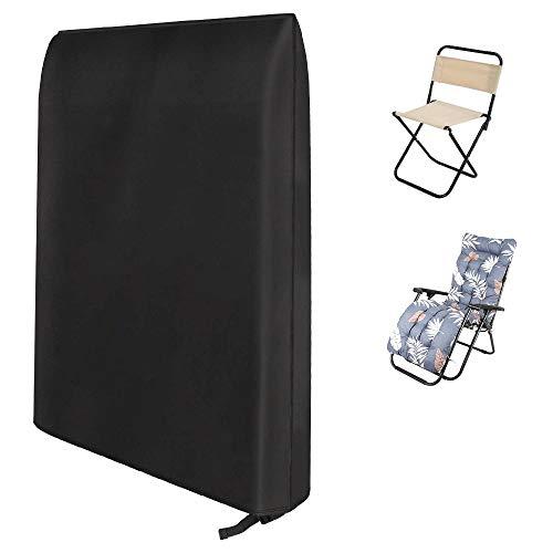 Keyohome - Funda para sillas plegables de jardín de 190T, impermeable, Oxford, funda protectora para silla plegable, 93 x 82 cm (negro)