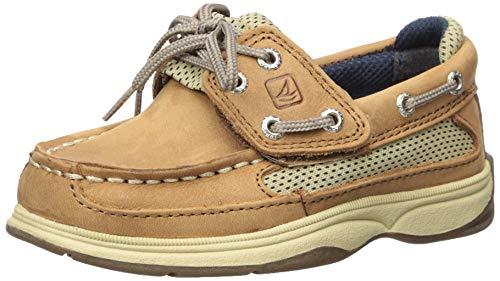 Sperry baby boys Leeward Boat Shoe, Dark Tan/Navy, 11 Little Kid US