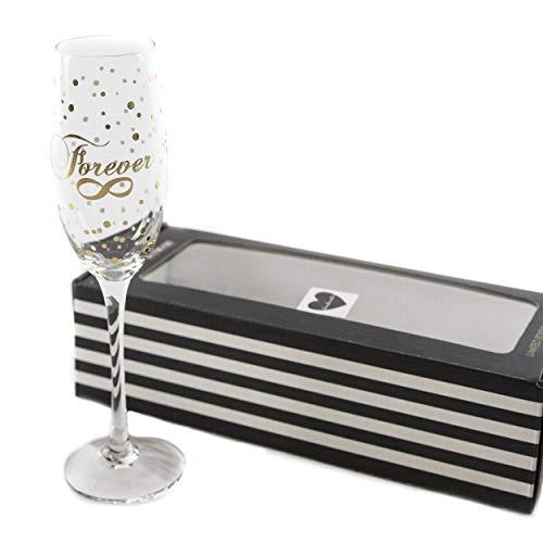 Sektglas Glas Hochzeit Forever | knuellermarkt24.de | Hochzeitsdeko Gläser Gold handgemacht Wein Sekt Champagner