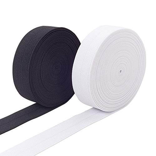 BENECREAT 1-Inch 11 Yard White Black Foldover Elastic Stretch FOE Elastic Ribbon for Hairbands Hair Ties and Bows