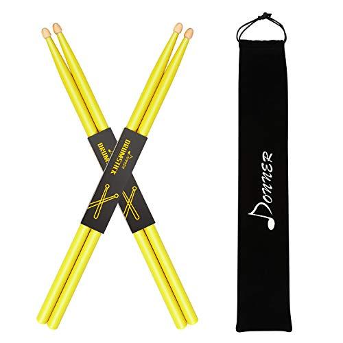 Donner 7A Drumsticks Klassisches Ahorn Holz 2 Paar mit Tasche, Gelb
