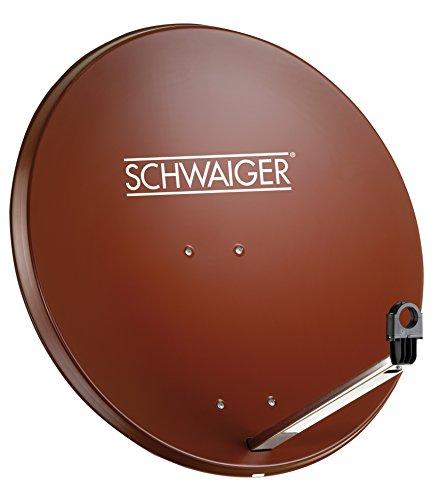 SCHWAIGER -173- Satellitenschüssel, Sat Antenne mit LNB Tragarm und Masthalterung, Sat-Schüssel aus Stahl, 75 x 85 cm