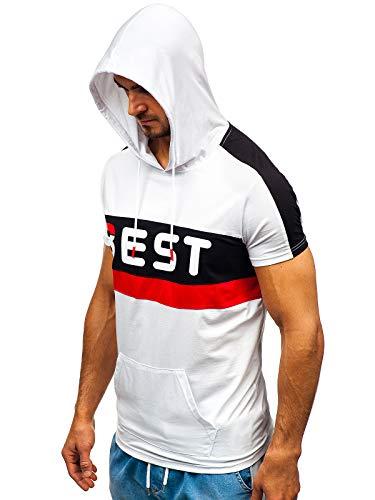 BOLF Hombre Camiseta de Manga Corta con Capucha Impresión Estilo Diario Nature 5798 Blanco XXL [3C3]