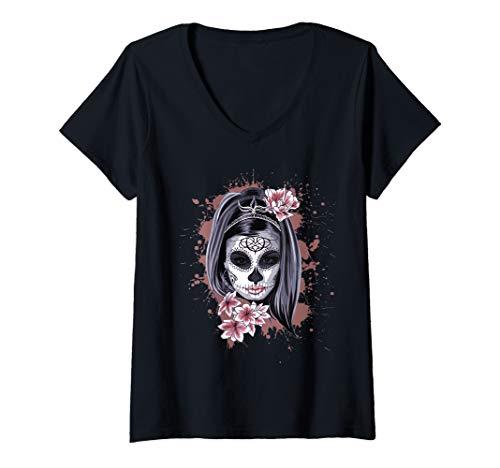 Damen La Calavera Catrina Halloween Candy Sugar Skull Girl T-Shirt mit V-Ausschnitt