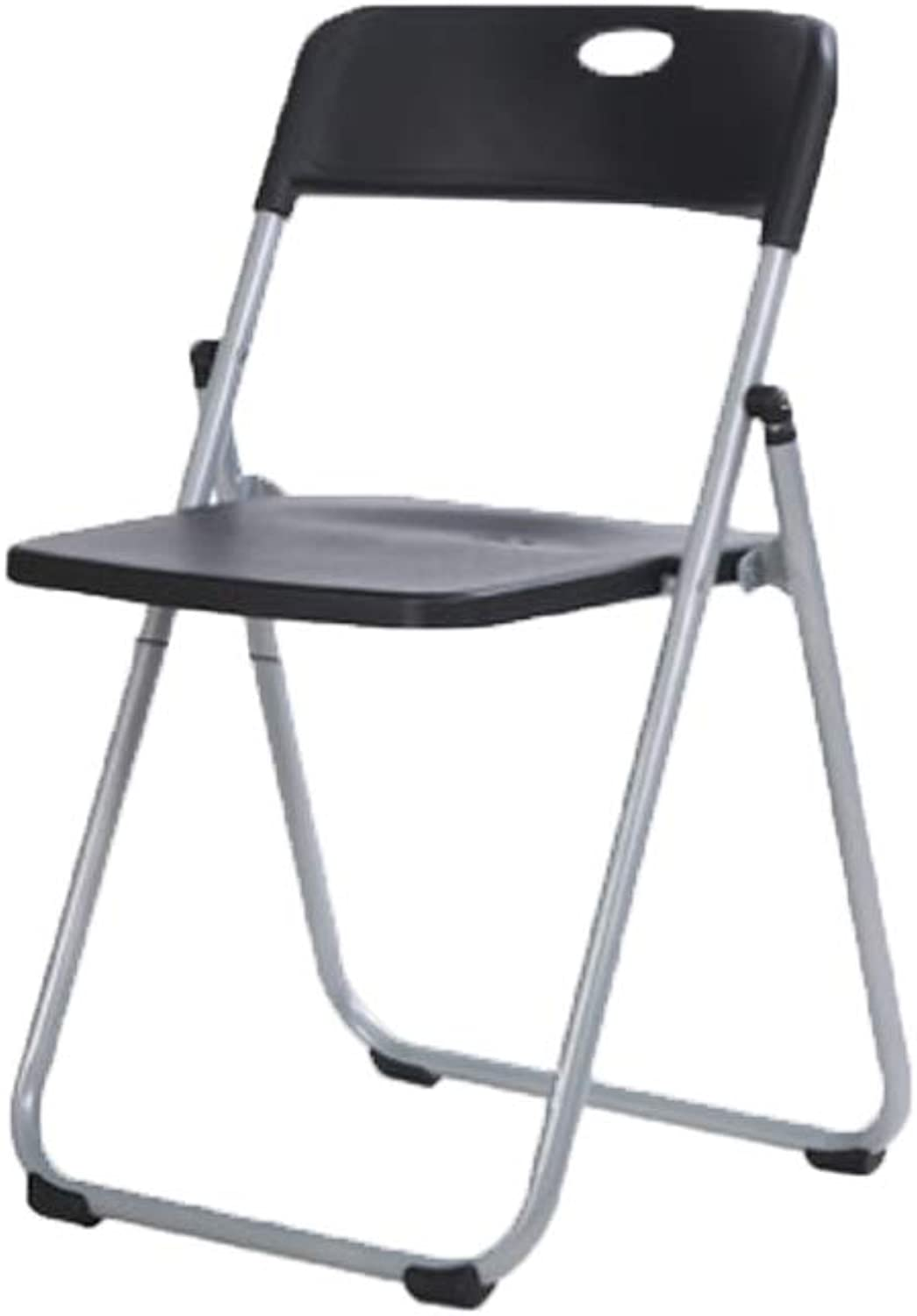 YE ZI Chair - Folding Chair - Household Portable Chair Plastic Stool Comfortable and Durable (color   Black)