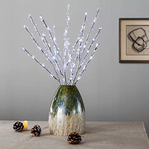 3 Pack Lighted Tree Branches, Crystal Beaded Silver Branch lights with Timer Battery Operated, 30inch 60 Cool White LED Tall Vase Filler Twig Tree Lights for Home Garden Wedding Holiday Décoration