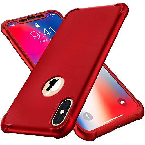 ORETECH Compatibile con Cover iPhone X, Custodia iPhone XS, con [2 x Pellicola Protettiva Vetro Temperato] 360 Ultra Sottile Hard PC TPU Silicone Cover Custodia per iPhone 10 Cover -5.8
