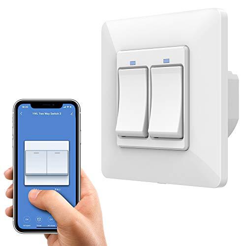 Orbecco WiFi Smart Lichtschalter, 2 Gang APP- und Sprachsteuerung Wandschalter Fernbedienung Tastschalter, Kompatibel mit Alexa Echo Google Home, ohne Hub Benötig -1Pcs