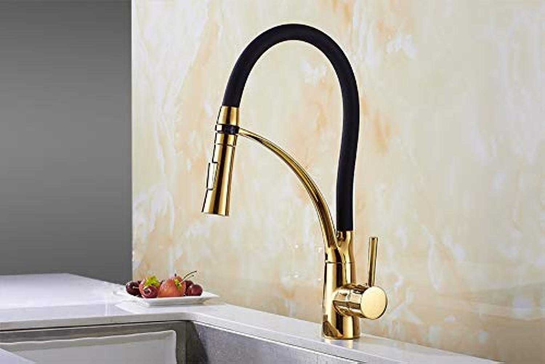 Herausziehen Küchenarmatur Gold Swivel Kitchen Sink Mischbatterie 360 Grad-Umdrehung Küchen-Mischbatterien Küchenarmatur