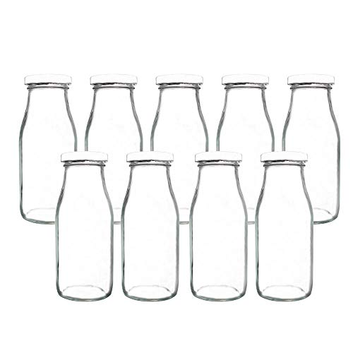 YEBODA 11oz Glass Milk Bottles with Reusable Metal Twist Lids and Straws for Beverage Glassware and Drinkware Parties, Weddings, BBQ, Picnics, Set of 9