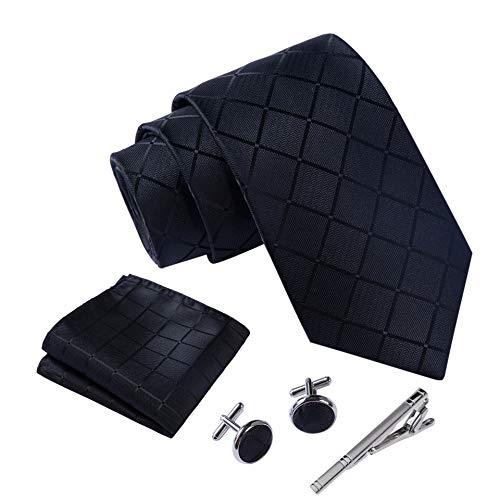 Massi Morino ® Herren Krawatte Set mit umfangreicher Geschenkbox schwarz schwarze schwarzekrawatte black Trauer Beerdigung trauerkleidung quadratmuster geometrisches