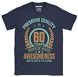 6TN Uomo 60 Anni di Impressionante e Il Meglio Deve Ancora Venire 60 ° Compleanno T Shirt (XL, Blu Navy)