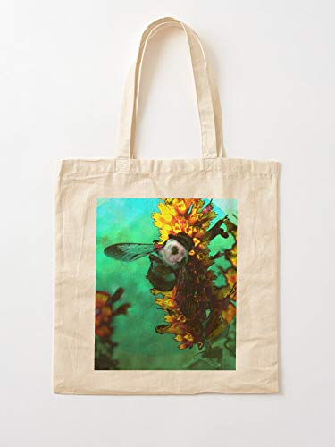 Garden Flora Bee Flower Summer Nature Insect Floral Tote Cotton Very Bag | Canvas Grocery Bags Tote Bags with Handles Durable Cotton Shopping Bags