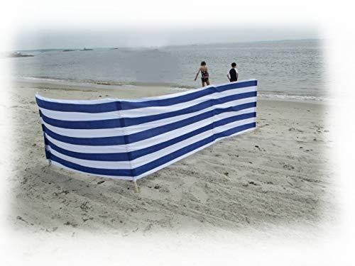 13 ft Beach Windscreen Privacy Windbreak with a Bag Made in Europe (Blue/White Stripes)