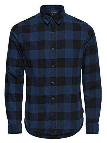 ONLY & SONS Male Langarmhemd Kariertes XSDress Blues