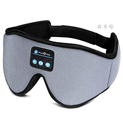 Sleep Headphones 3D Bluetooth Sleep Mask, MUSICOZY Wireless Music Eye Mask with Sleeping Headphones for Side Sleepers, Air Travel, Meditation, Built-in Ultra Soft Thin Speakers Microphone Washable by MUSICOZY